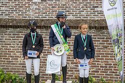 Podium L2-C, Verstappen Noor, Bosch Katrijn, Vandendriessche Britt<br /> Nationaal Kampioenschap LRV <br /> Ponies Dressuur - Oudenaarde 2020<br />  03/10/2020
