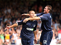 Photo: Chris Ratcliffe.<br />Southend United v Stoke City. Coca Cola Championship.<br />05/08/2006.<br />Freddy Eastwood (L) of Southend is jumped on by Lee Bradbury as they celebrate Eastwood scoring the first Southend goal from the penalty spot.