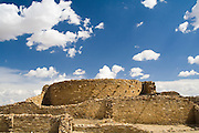 Stone ruins of Pueblo Bonito, Chaco Canyon, New Mexico.