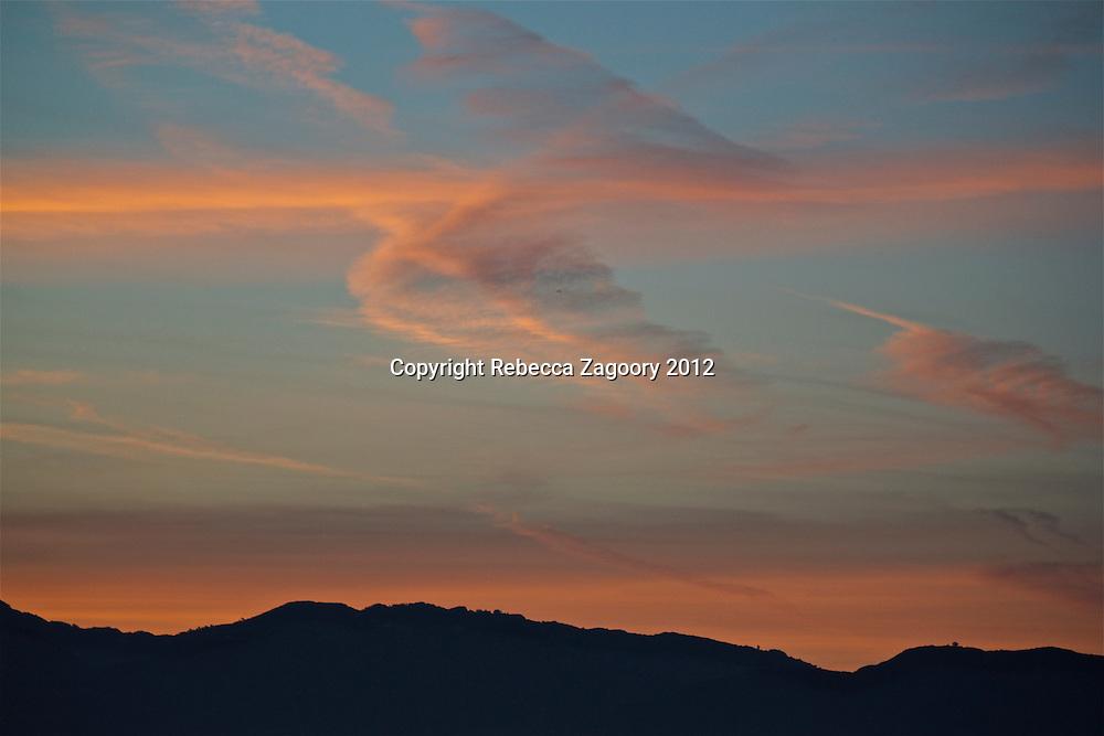 Feathered Sky Santa Monica over Mountains