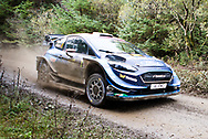 Pontus Tidemand(SWE)and Co/Driver Ola Floene(NOR)Ford Fiesta WRC  during the Wales Rally GB at the Snowdonia National Park on 4 October 2019.Stage SS3 Penmachno