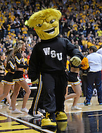 WICHITA, KS - NOVEMBER 12:  The Wichita State Shockers mascot performs during a game against the Western Kentucky Hilltoppers during the first half on November 12, 2013 at Charles Koch Arena in Wichita, Kansas.  (Photo by Peter Aiken/Getty Images) *** Local Caption ***