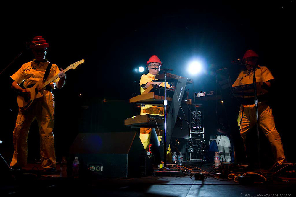 Devo perform during the San Diego Street Scene festival in downtown San Diego on September 20, 2008.
