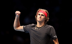 Alexander Zverev celebrates winning the match during the men's singles match during day six of the Nitto ATP Finals at The O2 Arena, London.