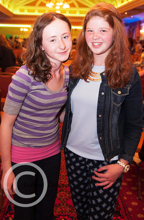 Ciara Molloy, Ballinderreen and Amber  O'Connor, Kinvara at A Vintage and Pre-Loved Fashion Extravaganza held in the Lady Gregory Hotel in Gort . A fundraising event organised by the Parents Council for Seamount's new pitch.  Photo:Andrew Downes