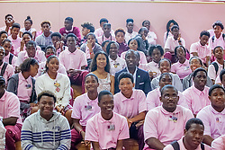 Milt Newton speaks to high school students at Ivanna Eudora Kean High School sharing details about growing up in the Virgin Islands and encouraging students to have hope and focus in pursuing their dreams.  St. Thomas, VI.  27 May 2016.  © Aisha-Zakiya Boyd