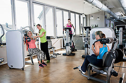 Four woman fitness studio trainer sport modern