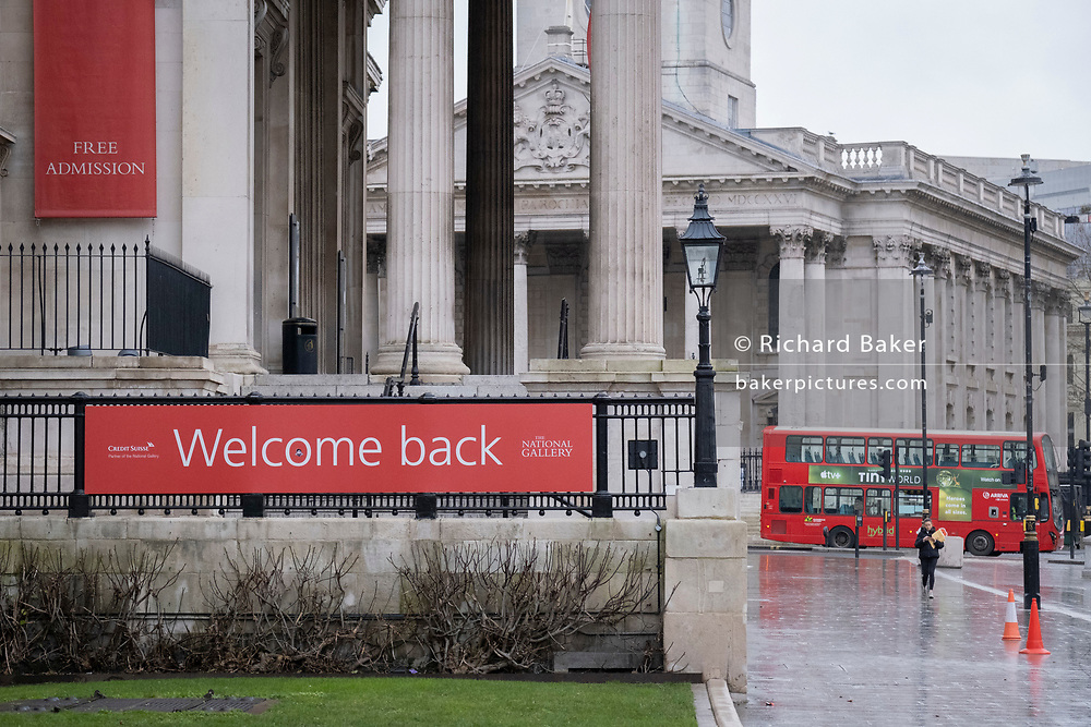 The day after the government introduced a third Coronavirus pandemic national lockdown, effectively a Tier 5 restriction, Arts institutions such as the National Gallery inTrafalgar Square, remain closed to the public, as the capital experiences a grim post-Christmas and millions of Britons are told to stay at home, on 5th January 2021, in London, England.