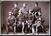 Portrait of O.C. Marsh, (Rear Center) founder of the Yale Peabody Museum with his 1870 field crew to the West.