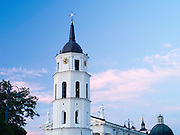 Sunset view of the Vilnius Cathedral Clocktower, Vilnius, Lithuania