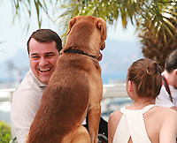 Director Kornel Mundruczo with  Hagen the dog and actress Zsofia Psotta at the photo call for the film White God (Feher Isten) at the 67th Cannes Film Festival, Saturday 17th May 2014, Cannes, France.