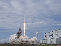 June 3, 2017 - Cape Canaveral, Florida, United States of America - The SpaceX Falcon 9 rocket, with the Dragon spacecraft onboard, launches from pad 39A at NASA's Kennedy Space Center in Cape Canaveral, Florida, Saturday, June 3, 2017. Dragon is carrying almost 6,000 pounds of science research, crew supplies and hardware to the International Space Station in support of the Expedition 52 and 53 crew members. The unpressurized trunk of the spacecraft also will transport solar panels, tools for Earth-observation and equipment to study neutron stars. This will be the 100th launch, and sixth SpaceX launch, from this pad. Previous launches include 11 Apollo flights, the launch of the unmanned Skylab in 1973, 82 shuttle flights and five SpaceX launches. .Mandatory Credit: Bill Ingalls / NASA via CNP (Credit Image: © Bill Ingalls/CNP via ZUMA Wire)