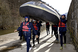 March 14, 2018 - Rendeux, Belgique - Lukasz Teodorczyk forward of RSC Anderlecht and Josue Sa defender of RSC Anderlecht - illustration rafting  pictured during the team building of Rsc Anderlecht in Rendeux , Belgium. ***RENDEUX, BELGIUM - March 14, 2018 EXCLUSIF (Credit Image: © Panoramic via ZUMA Press)