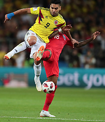 July 3, 2018 - Moscow, Russia - forward Radamel Falcao of Colombia National team in action with defender Ashley Young of England National team  during the round of 16 match between Colombia  and England at the FIFA World Cup 2018 at Spartak Stadium  in Moscow, Russia, Tuesday, July 3, 2018. (Credit Image: © Anatolij Medved/NurPhoto via ZUMA Press)