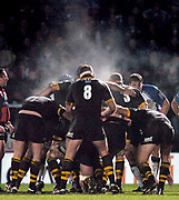 2004/05 Zurich Premiership, London Wasps vs Bath. Causeway Stadium, High Wycombe, ENGLAND:<br /> Wasps No 8 Joe Worsley, preparing to pack down for the scrum, with steam rising from wet shirts, and the, heat of the players bodies,<br /> <br /> Photo  Peter Spurrier. <br /> email images@intersport-images