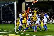 Kwesi Appiah (9) of AFC Wimbledon goal is ruled out for a foul on goalkeeper Jack Bonham (13) of Bristol Rovers during the EFL Sky Bet League 1 match between Bristol Rovers and AFC Wimbledon at the Memorial Stadium, Bristol, England on 23 October 2018.