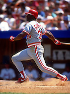 QUEENS, NY - UNDATED:  Ken Griffey Sr. of the Cincinnati Reds bats during an MLB game at Shea Stadium in the Queens, New York.  Griffey Sr. played on the Reds from 1973-1981 and 1988-1990.  (Photo by Ron Vesely)