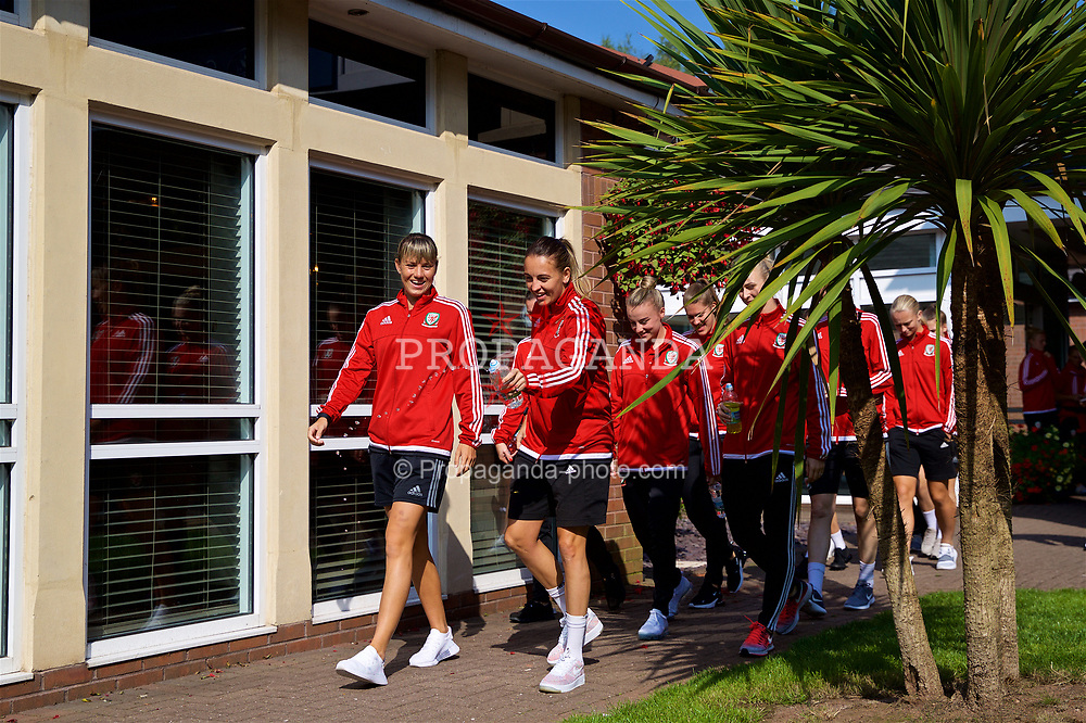 NEWPORT, WALES - Friday, August 31, 2018: Wales' Gemma Evans and Kayleigh Green during a pre-match team walk ahead of the FIFA Women's World Cup 2019 Qualifying Round Group 1 match between Wales and England. (Pic by David Rawcliffe/Propaganda)