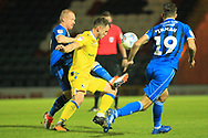 David Perkins makes a challenge during the EFL Sky Bet League 1 match between Rochdale and Bristol Rovers at Spotland, Rochdale, England on 2 October 2018.