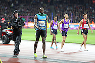 Usain Bolt of Jamaica celebrates winning the 100m during the Sainsbury's Anniversary Games at the Queen Elizabeth II Olympic Park, London, United Kingdom on 24 July 2015. Photo by Phil Duncan.