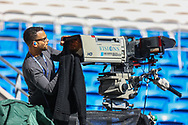 Television cameras are being cleaned ready for the EFL Sky Bet Championship match between Cardiff City and Nottingham Forest at the Cardiff City Stadium, Cardiff, Wales on 2 April 2021.