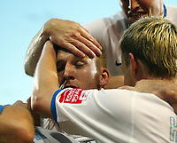 Photo: Chris Ratcliffe.<br /> Crystal Palace v Southend United. Coca Cola Championship. 08/08/2006.<br /> Freddy Eastwood of Southend is mobbed by team mates as he celebrates scoring the first Southend goal.