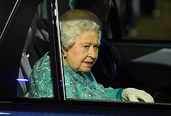 © Licensed to London News Pictures. 15/05/2016. Windsor, UK.  HRH QUEEN ELIZABETH II leaves the arena in a Range Rover. An evening event held at the Royal Windsor Horse show to celebrate the 90th birthday of HRH Queen Elizabeth II. Acts from arounds the world have been invited to perform at the evening event, set in the grounds of Windsor Castle. Photo credit: Ben Cawthra/LNP