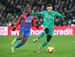 January 12, 2019 - London, England, United Kingdom - London, England - 12 January, 2019.L-R Crystal Palace's Wilfried Zaha and \Watford's Gerard Deulofeu .during English Premier League between Crystal Palace and Watford at Selhurst Park stadium , London, England on 12 Jan 2019. (Credit Image: © Action Foto Sport/NurPhoto via ZUMA Press)