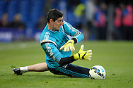 Goalkeeper Thibaut Courtois of Chelsea in pre-match training before k/o. Barclays Premier league match, Chelsea v Southampton at Stamford Bridge in London on Sunday 15th March 2015.<br /> pic by John Patrick Fletcher, Andrew Orchard sports photography.