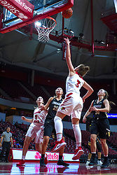NORMAL, IL - October 30:  Mary Crompton completes the lay up during a college women's basketball game between the ISU Redbirds and the Lions on October 30 2019 at Redbird Arena in Normal, IL. (Photo by Alan Look)