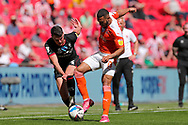 Blackpool Forward Keshi Anderson (8) controls the ball during the EFL Sky Bet League 1 Play-Off Final match between Blackpool and Lincoln City at Wembley Stadium, London, England on 30 May 2021.