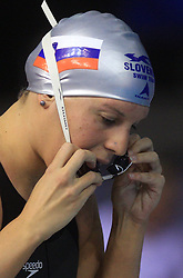 Anja Carman of Slovenia warming up for the women's 200m backstroke final race at day 4 of LEN European Short Course Swimming Championships Rijeka 2008, on December 14, 2008,  in Kantrida pool, Rijeka, Croatia. (Photo by Vid Ponikvar / Sportida)