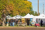 People ejoying art tents, Ritter Island, Thousand Springs Art Festival, Hagerman, Idaho.