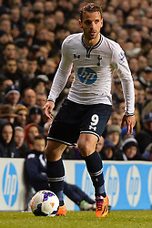 Tottenham's Roberto Soldado  - Photo mandatory by-line: Mitchell Gunn/JMP - Tel: Mobile: 07966 386802 02/03/2014 - SPORT - FOOTBALL - White Hart Lane - London - Tottenham Hotspur v Cardiff City - Premier League