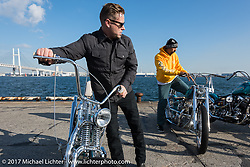 Small City Cycles Todd Asin with his custom 1951 Panhead at the docks where it was picked up with all of the invited builder's bikes for the Mooneyes show. Yokohama, Japan. Saturday December 2, 2017. Photography ©2017 Michael Lichter.