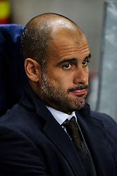Bayern Manager Josep Guardiola (ESP) looks on before the match - Photo mandatory by-line: Rogan Thomson/JMP - Tel: Mobile: 07966 386802 - 02/10/2013 - SPORT - FOOTBALL - Etihad Stadium, Manchester - Manchester City v Bayern Munich - UEFA Champions League Group D.