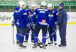 Mitja Robar, Rok Ticar, Matjaz Kopitar, head coach during practice session of Slovenian National Ice Hockey Team prior to the IIHF World Championship in Ostrava (CZE), on April 21, 2015 in Hala Tivoli, Ljubljana, Slovenia. Photo by Vid Ponikvar / Sportida