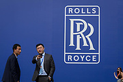The Rolls-Royce logo outside their hospitality chalet at the Farnborough Airshow, on 16th July 2018, in Farnborough, England.