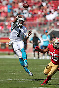 Carolina Panthers quarterback Cam Newton (1) leaps and throws a pass while airborne during the 2017 NFL week 1 regular season football game against the against the San Francisco 49ers, Sunday, Sept. 10, 2017 in Santa Clara, Calif. The Panthers won the game 23-3. (©Paul Anthony Spinelli)