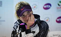 February 21, 2019 - Dubai, ARAB EMIRATES - Elina Svitolina of the Ukraine talks to the media after winning her quarter-final match at the 2019 Dubai Duty Free Tennis Championships WTA Premier 5 tennis tournament (Credit Image: © AFP7 via ZUMA Wire)