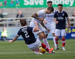 Falkirk's Michael Doyle and Livingston Lyndon Dykes. Falkirk 1 v 1 Livingston, Livingston win 4-3 on penalties. BetFred Cup game played 13/7/2019 at The Falkirk Stadium.