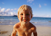 Boy on Kailua Beach, Oahu, Hawaii