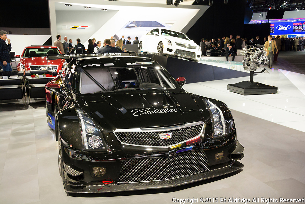 DETROIT, MI, USA - JANUARY 12, 2015: Cadillac ATS-V R coupe race car on display during the 2015 Detroit International Auto Show at the COBO Center in downtown Detroit.