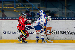 29.01.2017, Ice Rink, Znojmo, CZE, EBEL, HC Orli Znojmo vs EC VSV, Qualifikationsrunde, im Bild v.l. Marek Spacek (HC Orli Znojmo) Markus Schlacher (EC VSV) // during the Erste Bank Icehockey League qualification round match between HC Orli Znojmo and EC VSV at the Ice Rink in Znojmo, Czech Republic on 2017/01/29. EXPA Pictures © 2017, PhotoCredit: EXPA/ Rostislav Pfeffer