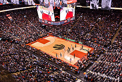 February 11, 2019 - Toronto, Ontario, Canada - Top view at the basketball court during the Toronto Raptors vs Brooklyn Nets NBA regular season game at Scotiabank Arena on February 11, 2019, in Toronto, Canada (Toronto Raptors win 127-125) (Credit Image: © Anatoliy Cherkasov/NurPhoto via ZUMA Press)