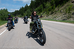 Custom bike builder Brad Gregory riding on the Cycle Source Ride up Vanocker Canyon to Nemo during the Sturgis Black Hills Motorcycle Rally. SD, USA. Wednesday, August 7, 2019. Photography ©2019 Michael Lichter.