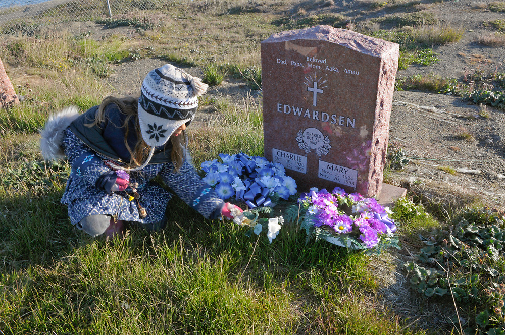 Barrow, Alaska.   Juliana visit the Edwardsen relatives grave.