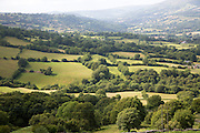 Usk valley landscape looking west from B4246 road, near Abergavenny, Monmouthshire, Wales, UK