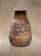 The Minoan decorated clay alabastron burial vessels with geometric design , Kamilari 1500-1300  BC; Heraklion Archaeological  Museum. .<br /> <br /> If you prefer to buy from our ALAMY PHOTO LIBRARY  Collection visit : https://www.alamy.com/portfolio/paul-williams-funkystock/minoan-art-artefacts.html . Type -   Heraklion   - into the LOWER SEARCH WITHIN GALLERY box. Refine search by adding background colour, place, museum etc<br /> <br /> Visit our MINOAN ART PHOTO COLLECTIONS for more photos to download  as wall art prints https://funkystock.photoshelter.com/gallery-collection/Ancient-Minoans-Art-Artefacts-Antiquities-Historic-Places-Pictures-Images-of/C0000ricT2SU_M9w
