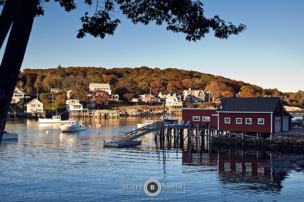 New Harbor Maine just before sunset